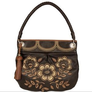 BRIGHTON Embroidered Floral Dark Brown Leather